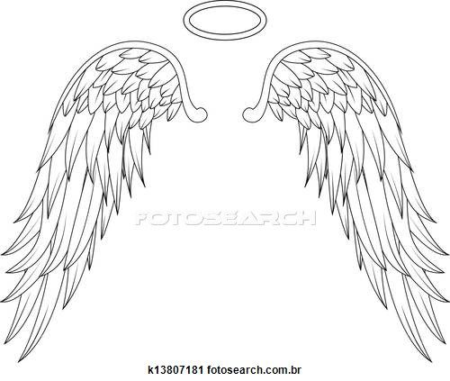 Wings stock illustrations clip. Wing clipart angel wing