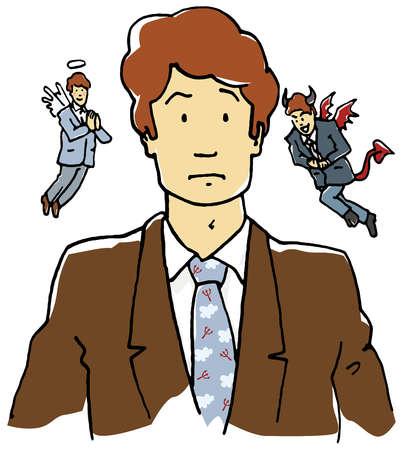 Businessman clipart angel. Stock illustration devil and