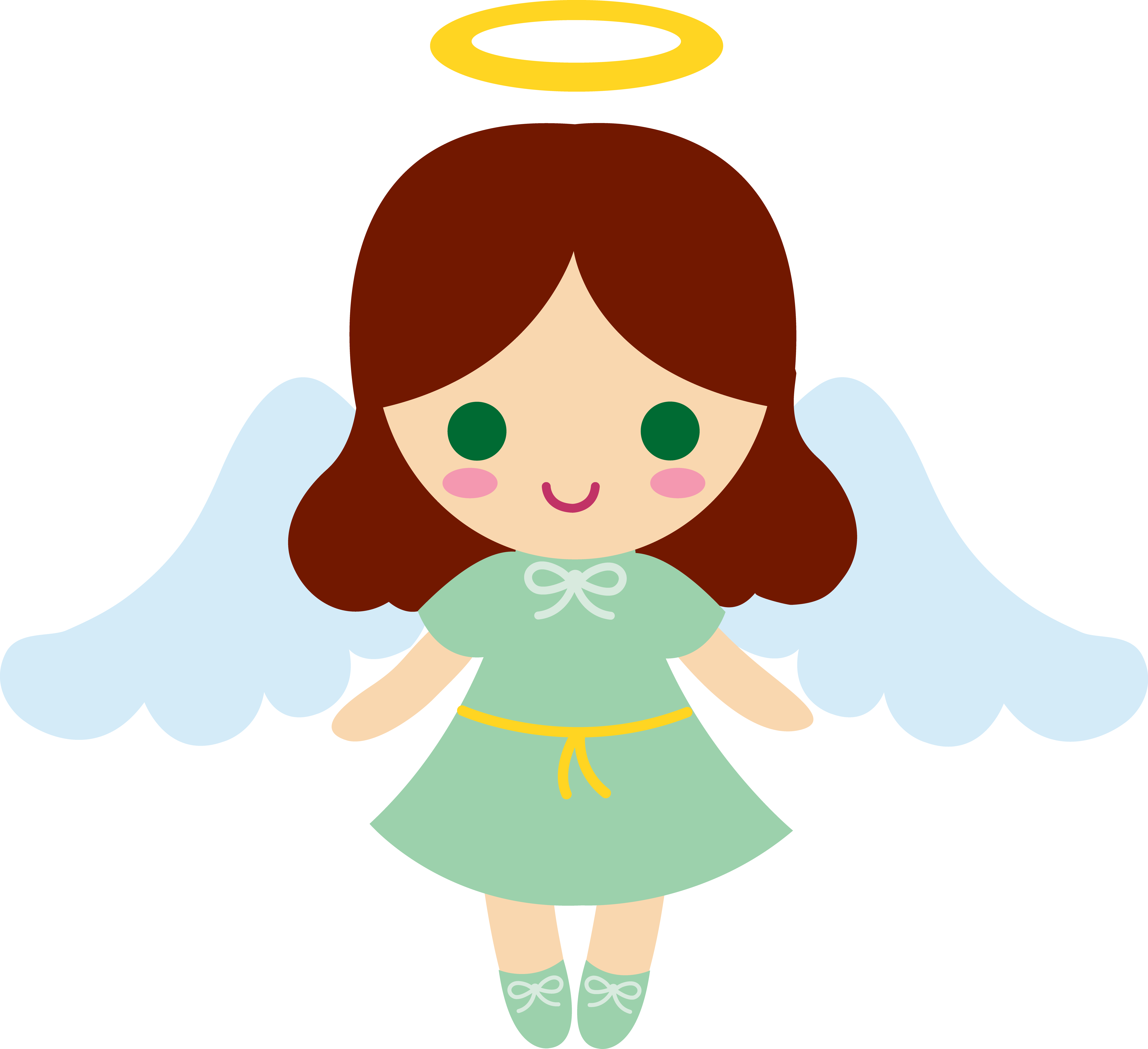Words clipart angel. Angelgirl cartoons little brunette