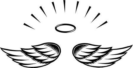 Simple wings template wing. Angel clipart clear background