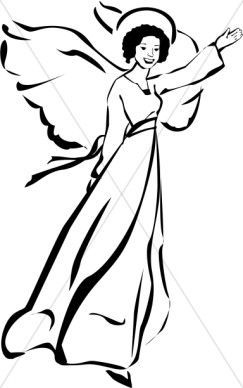 Black and white gallery. Angels clipart guardian angel