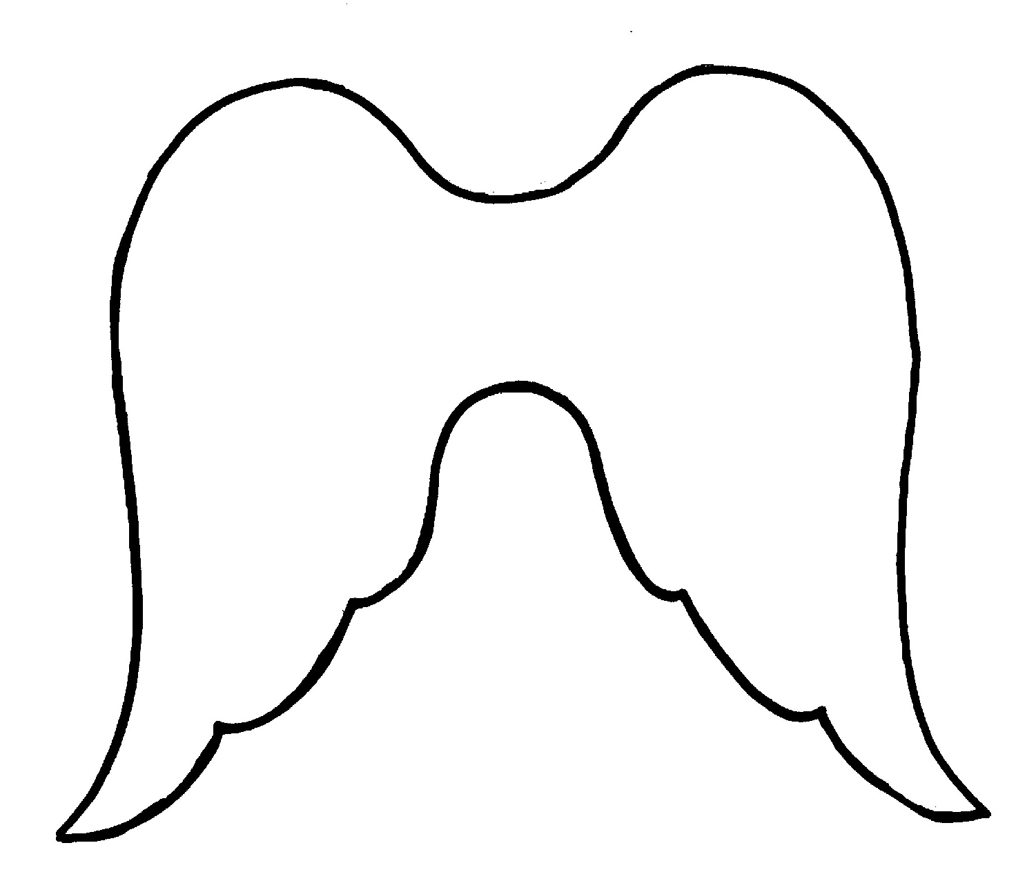 Angel clipart easy. Simple wings drawing template