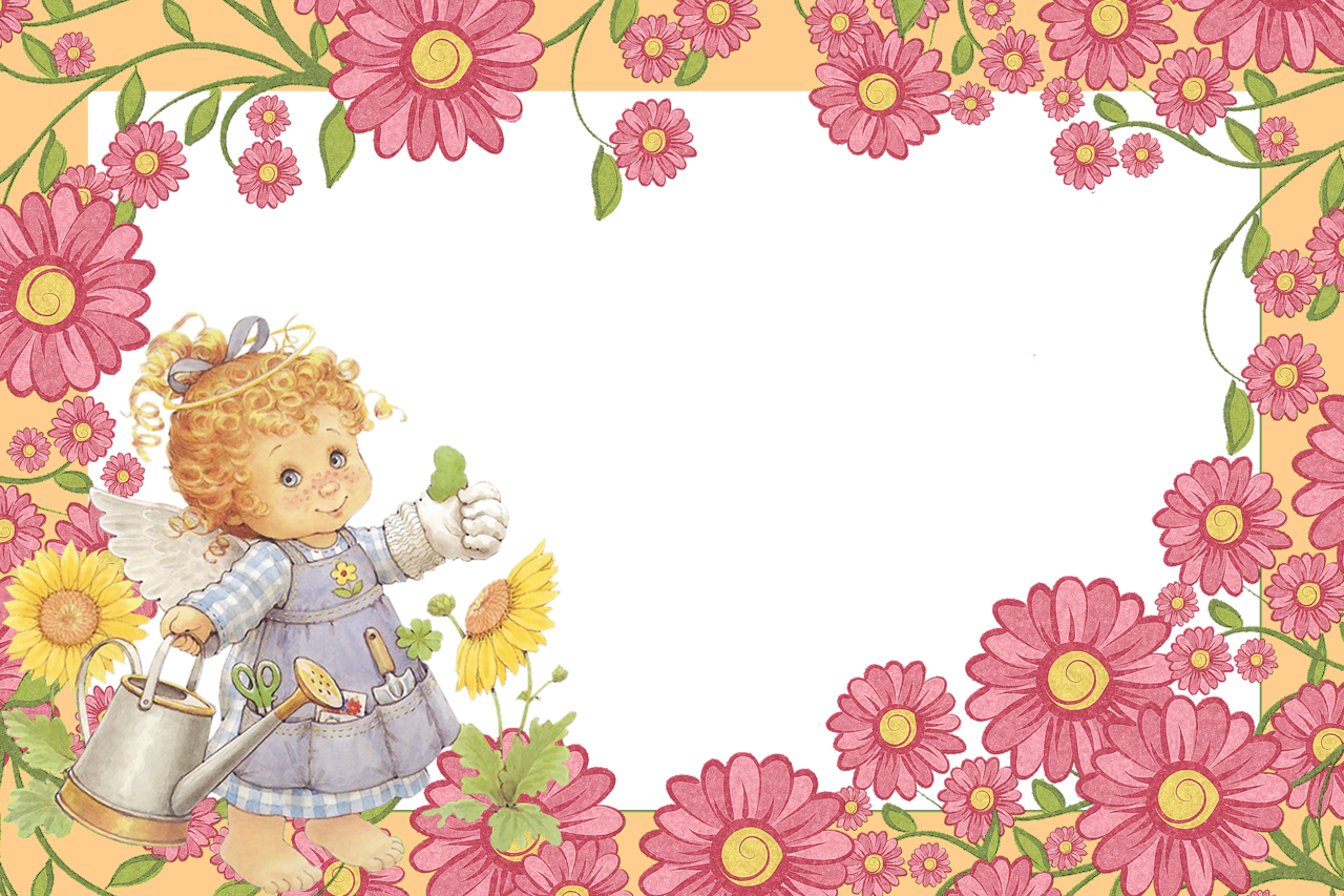 Little angel with flowers. Frames clipart cute