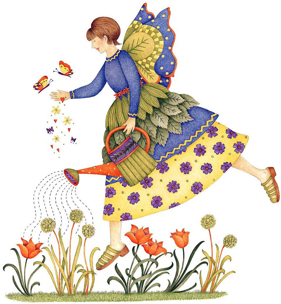 Decoupage image sewing craft. Angel clipart garden
