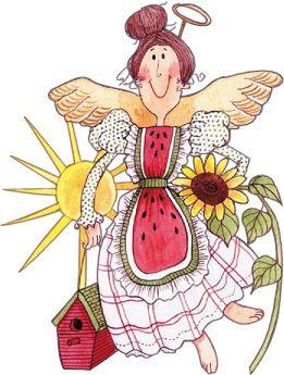 Original art by diane. Angel clipart garden