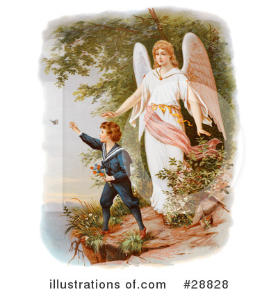 Illustration by oldpixels royaltyfree. Angels clipart guardian angel