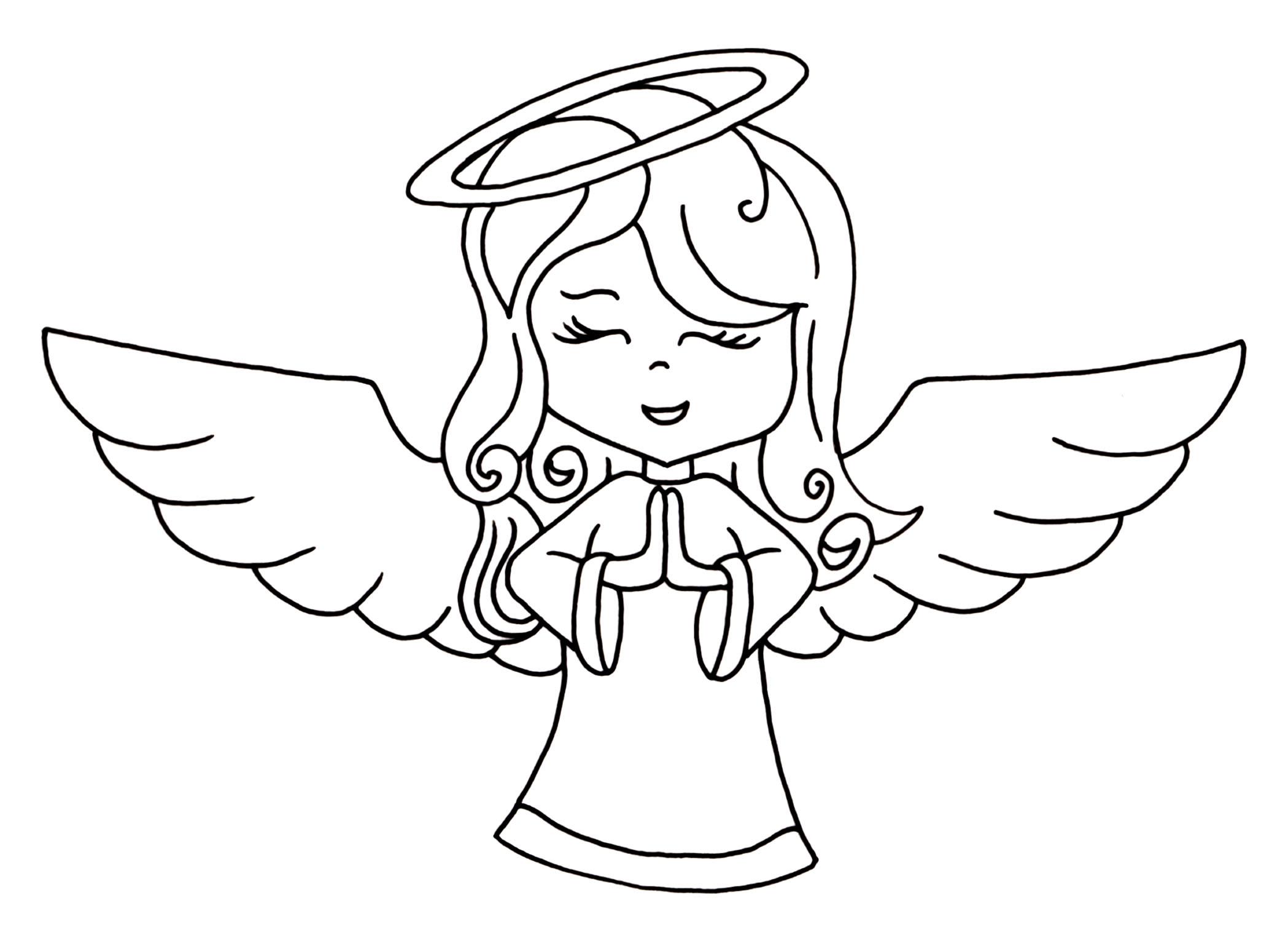 Clipart angel line art. Black and white lovely
