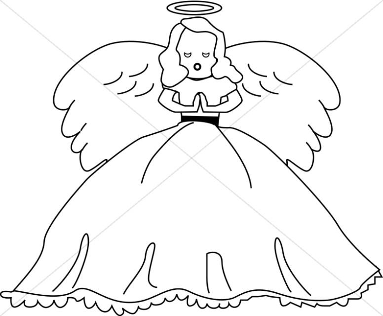 Dolls clipart line art. Cute angel doll