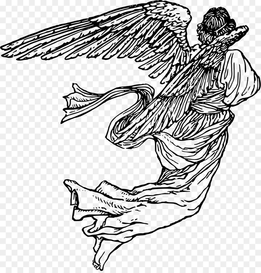 Bird drawing angel transparent. Angels clipart line art