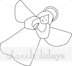 Praying angel drawing christmas. Angels clipart line art