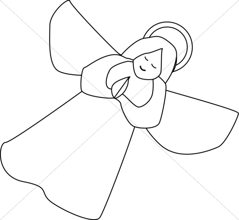 Angels clipart outline. Of angel