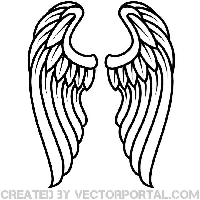 Simple angel wings clip. Halo clipart outline