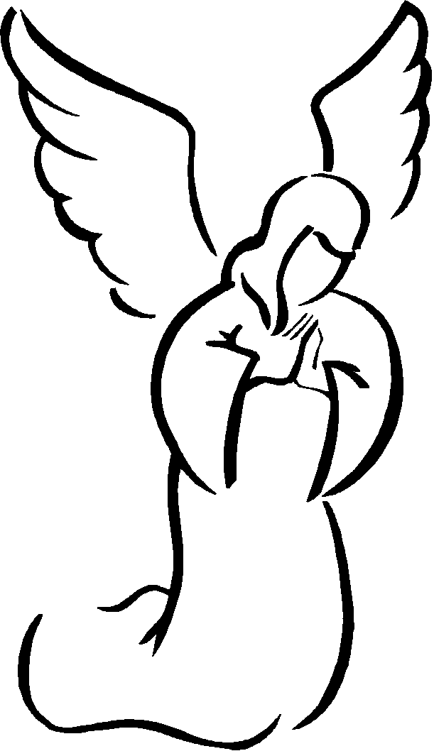 Free angel praying cliparts. Angels clipart outline