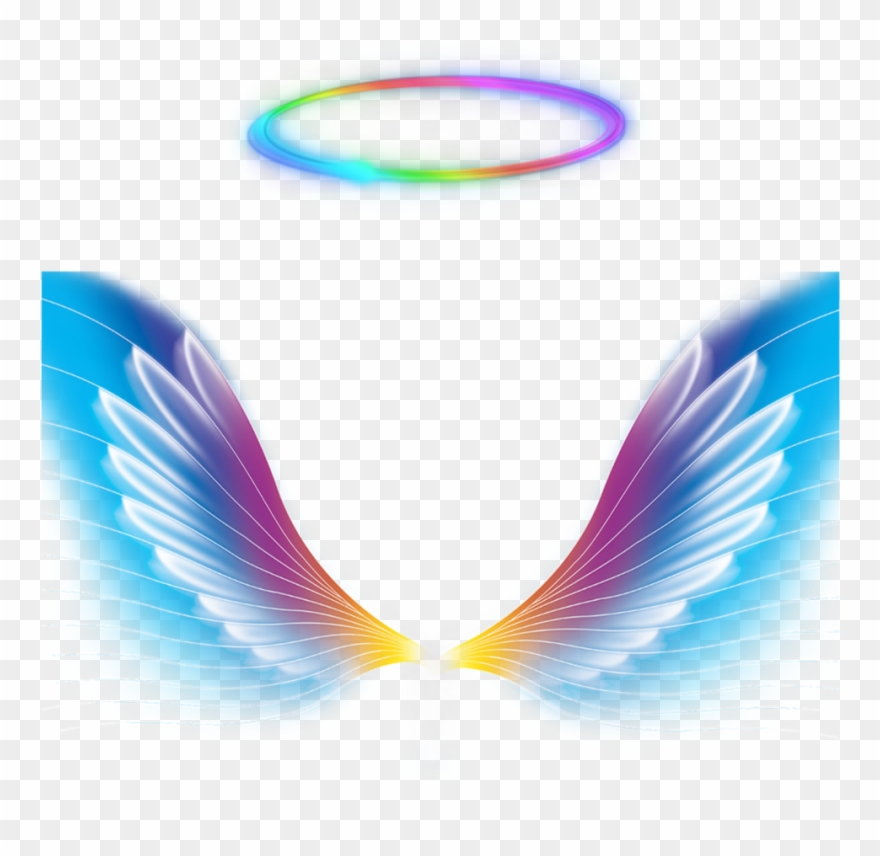 Angels clipart colorful. Angel wings halo rainbow