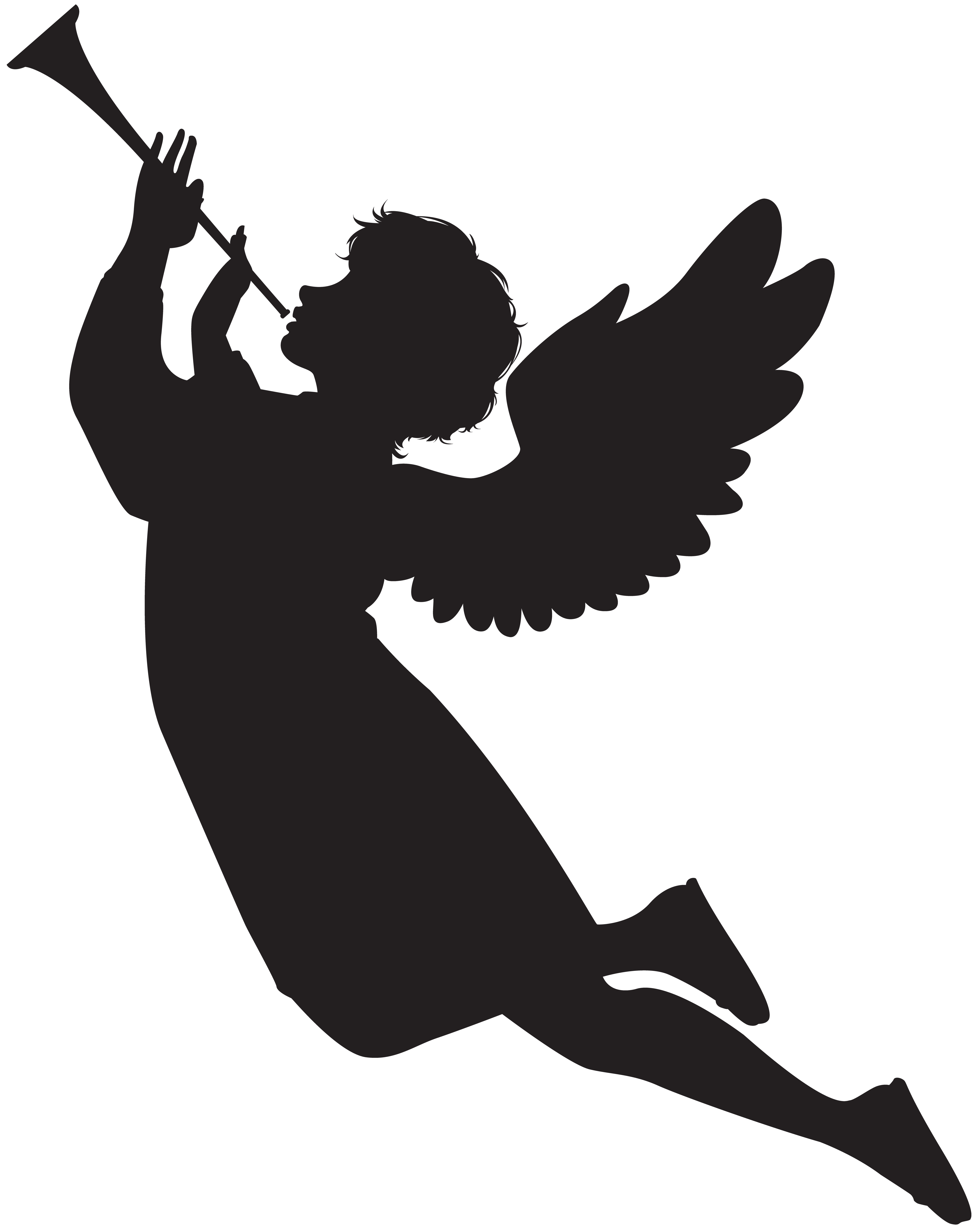 With fanfare png clip. Wing clipart silhouette angel