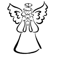 Clip art black and. Angel clipart simple