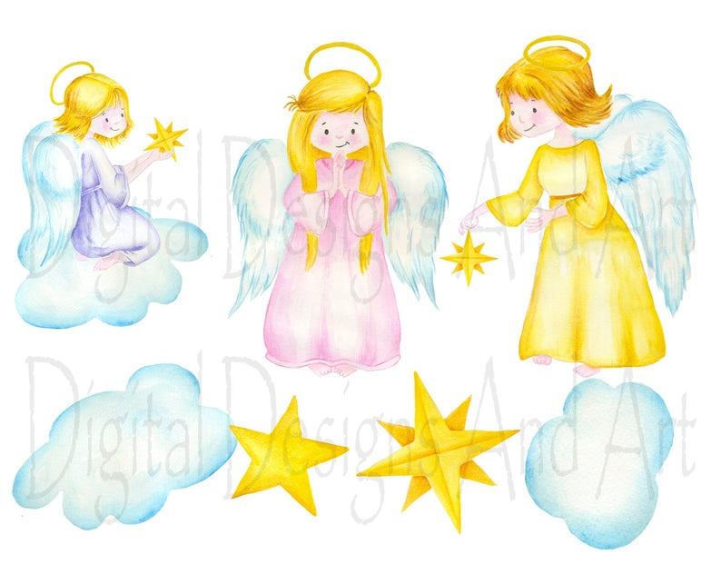 Angel watercolor illustration hand. Angels clipart