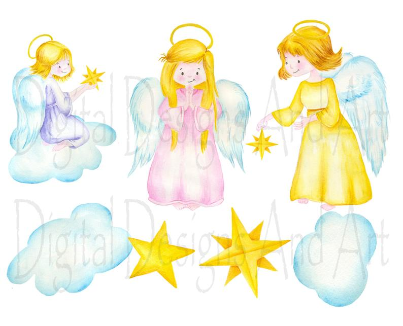 Angels clipart angle. Angel watercolor illustration hand