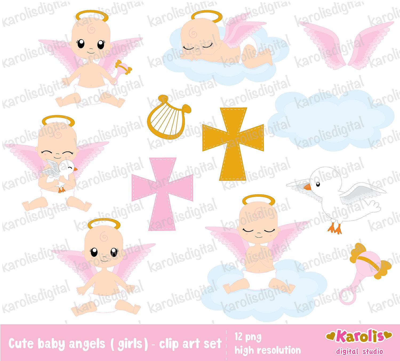 Baptism clipart baby girl. Angel for girls religious