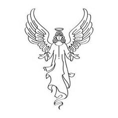 angels clipart black and white