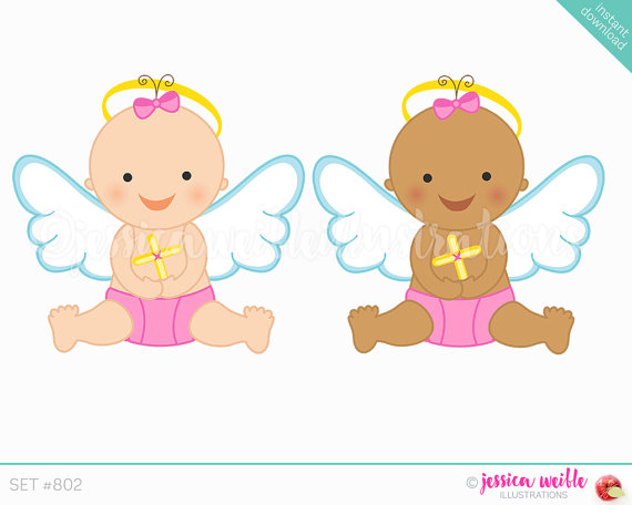 Angels clipart child. Instant download baby girl