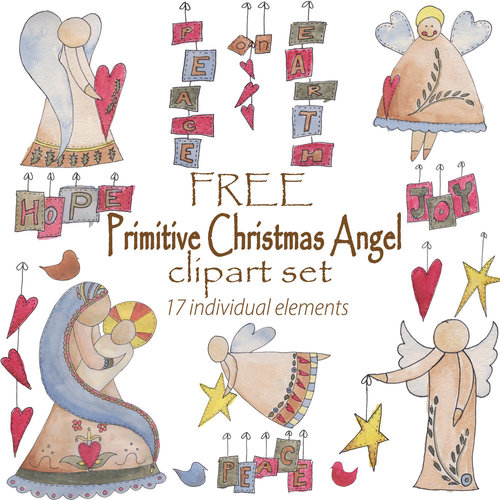 Primitive country christmas angel. Angels clipart clip art