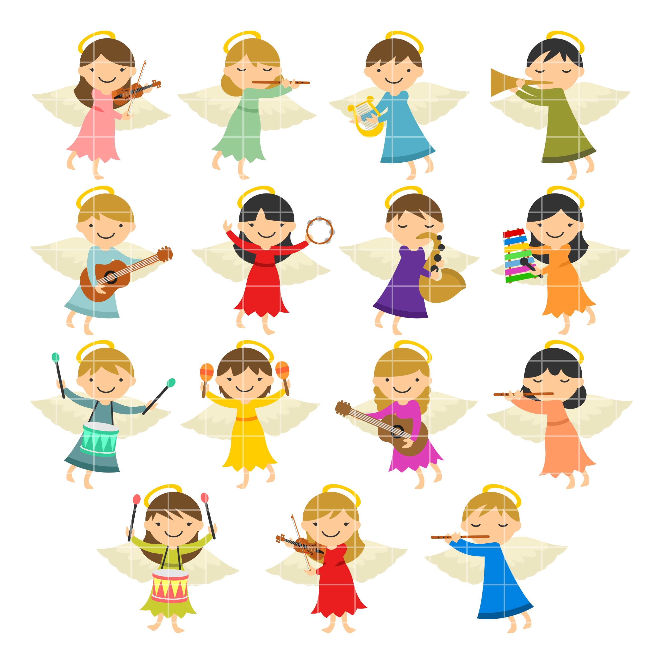 Musical set semi exclusive. Angels clipart colorful