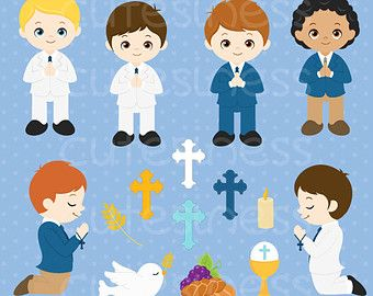 Boy digital and papers. Angels clipart first communion