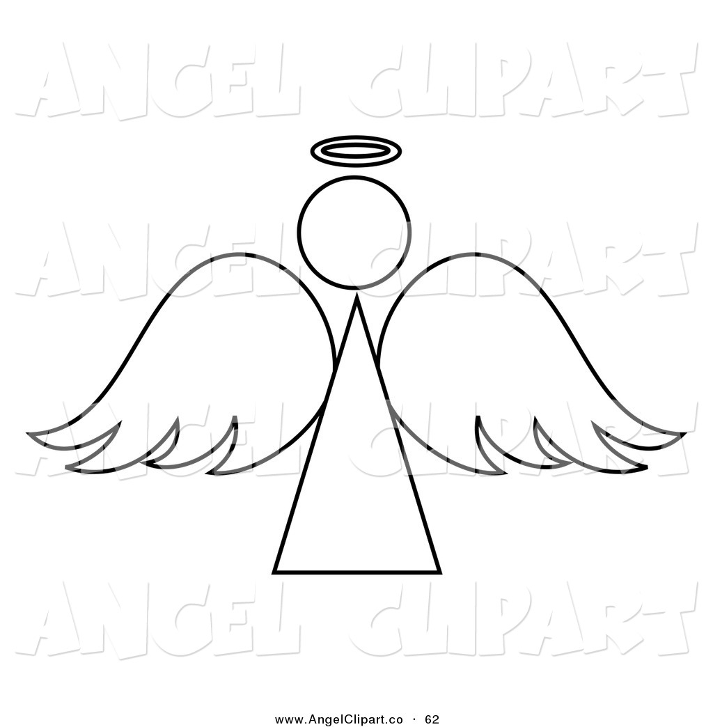 Angels clipart outline. Awesome angel black and