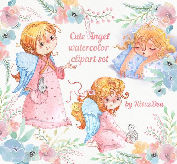 Angels clipart printable. Watercolor bunny clip art
