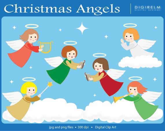 Angels clipart printable. Pretty christmas digital clip