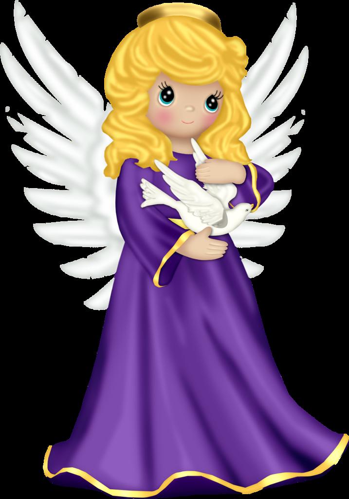 Cute with purple robe. Clipart rainbow angel
