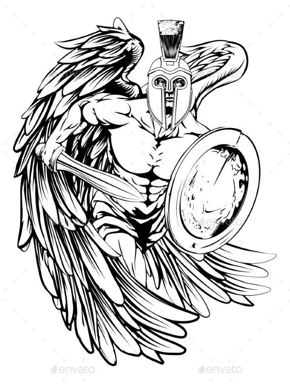 Angel mascot helmets and. Angels clipart warrior