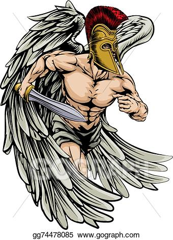 Angels clipart warrior. Vector stock angel illustration
