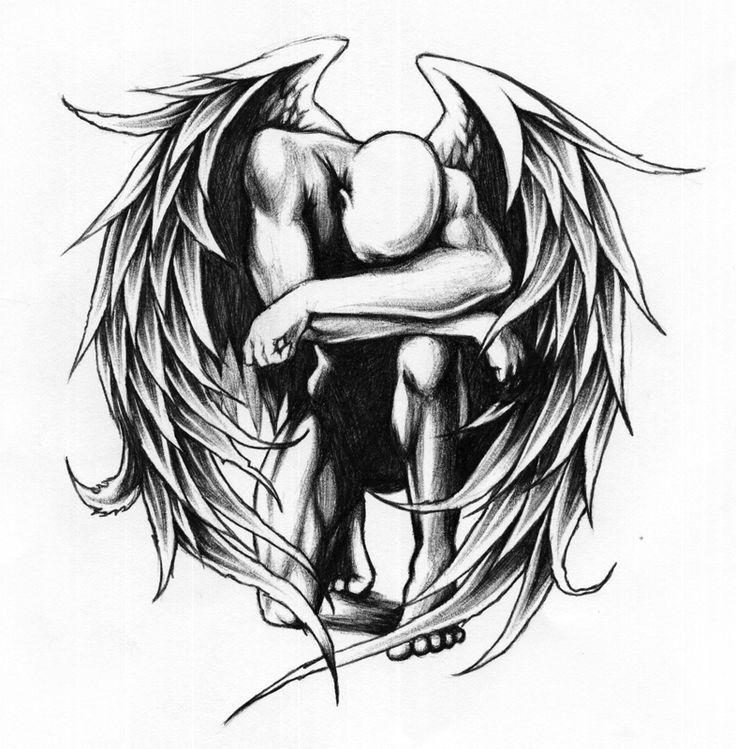 Fallen angel male pencil. Angels clipart warrior