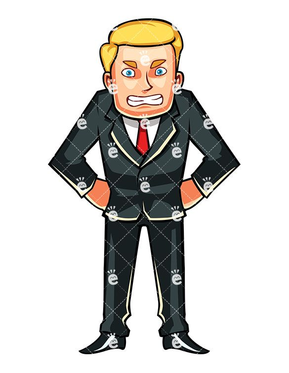 Business man in an. Anger clipart aggressive person