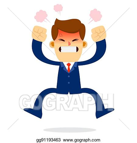 Anger clipart angry businessman. Vector art jump in