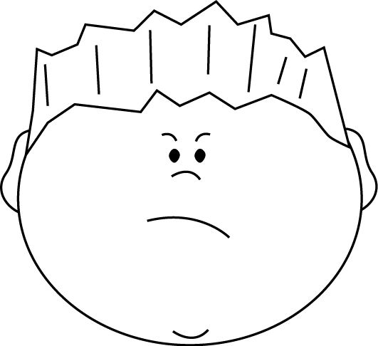 Angry clipart black and white. Face boy clip art