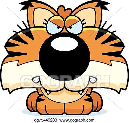 Anger clipart cartoon. Vector art lynx angry