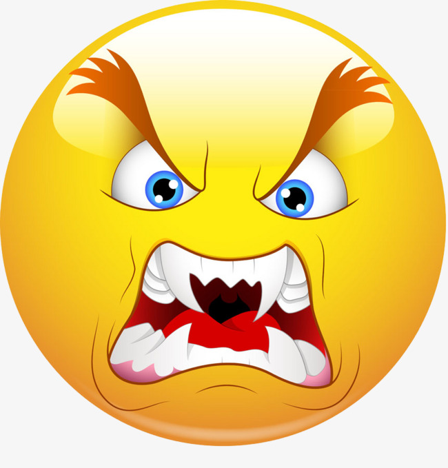 Angry face yellow expression. Anger clipart control anger