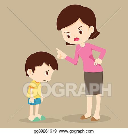 Anger clipart drawing. Vector art mother angry