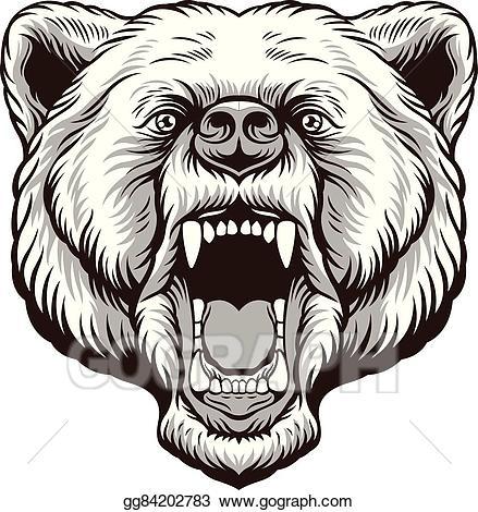Vector art angry bear. Anger clipart drawing