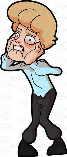 A man looking frustrated. Anxiety clipart fear