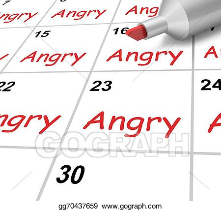 Stock illustration angry calendar. Anger clipart furious