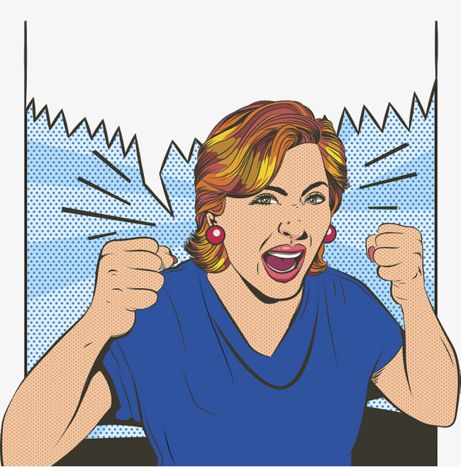 Anger clipart furious. Crazy illustration lady fashion