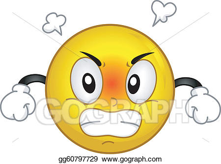 Vector angry smiley illustration. Anger clipart irate