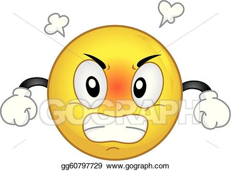 Anger clipart irate. Vector angry smiley illustration