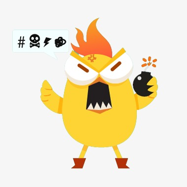 Grumpy chick grenade png. Anger clipart irritable