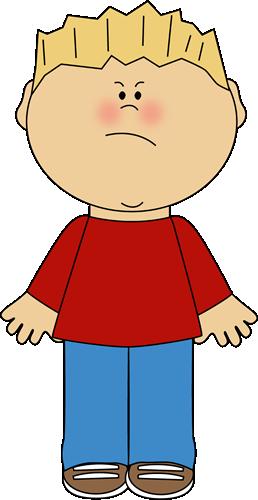 Boy with an face. Boys clipart angry
