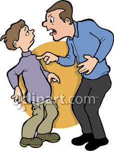 Yelling at his son. Anger clipart mad dad